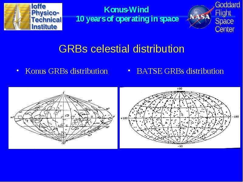 10 years of grbs observations from the joint Russian