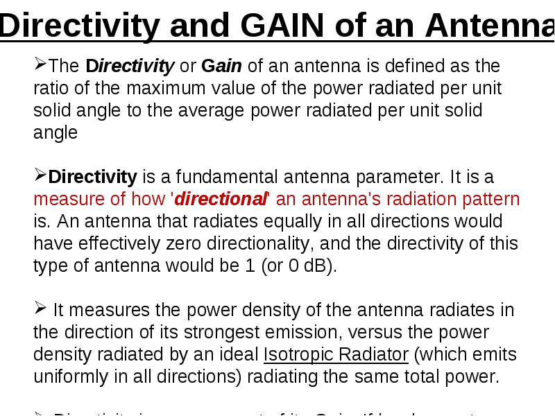 Definition of antenna parameters : Definition of antenna parameters