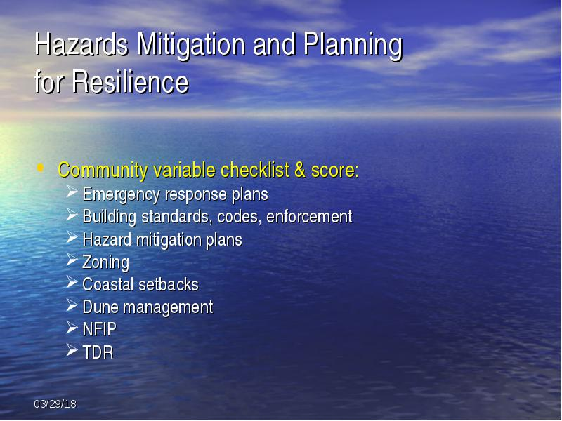 Definition of coastal resilience