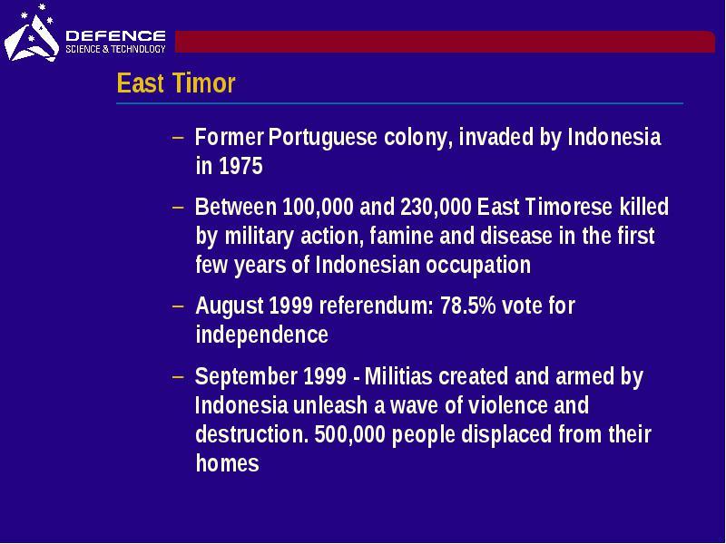 Diamond east Timor scenario Outline East Timor