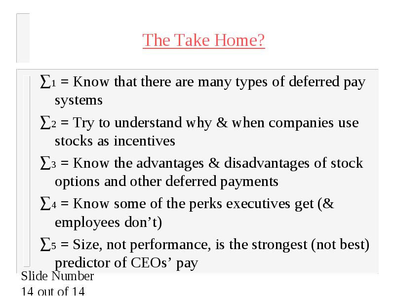 Executive stock options advantages disadvantages
