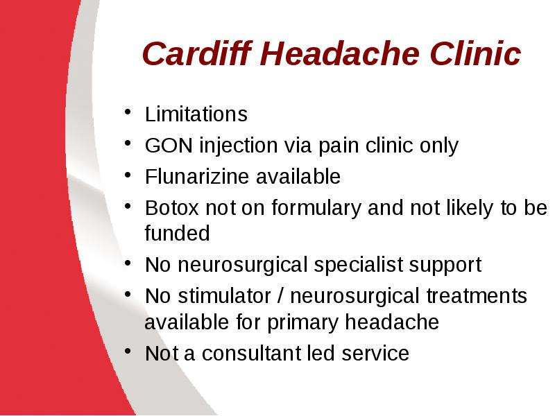Headache Services in Wales in Neurology and other