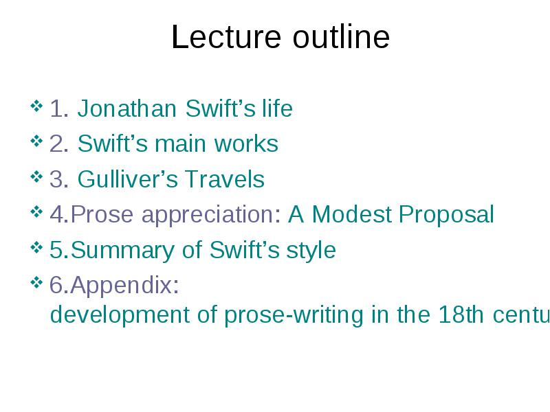 a modest proposal outline