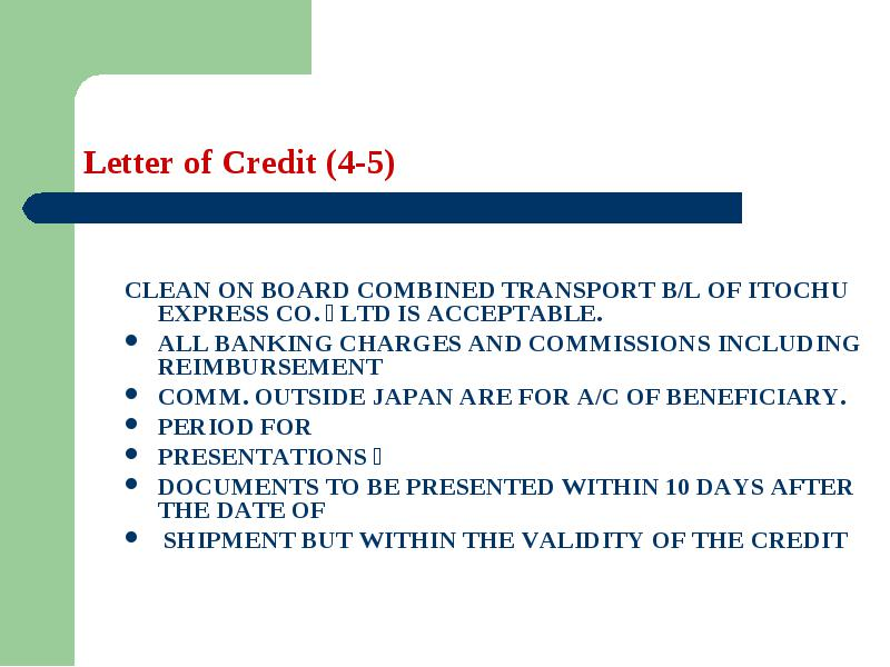 Letter of Credit Learning objectives