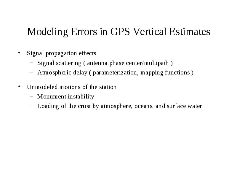 Modeling Errors In Gps Vertical Estimates Signal Propagation Effects - Gps elevation