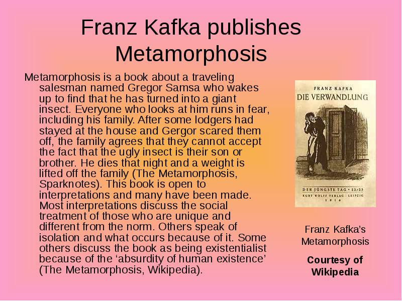 franz kafkas the metamorphosis gregor samsas life as the plague of traveling Metamorphosis is a famous novella by franz kafka the work centers around a traveling salesman, gregor samsa who wakes up one morning to realize he's turned into a bug the absurdist story was considered to be part of the dada art movement.