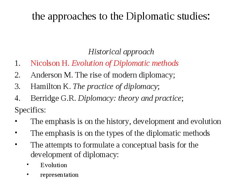 Principles and methods of contemporary diplomacy Phd