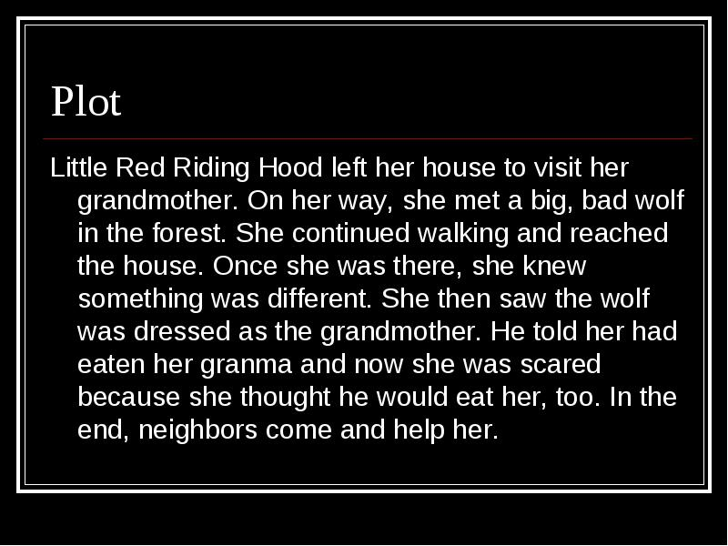 Story Map Little Red Riding Hood